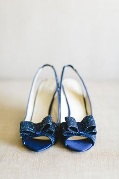 Deep blue wedding peep toes..  Read more - http://www.stylemepretty.com/illinois-weddings/2013/10/25/glenview-wedding-at-valley-lo-club-from-kina-wicks-photography/