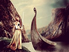 viking ship and sword maiden