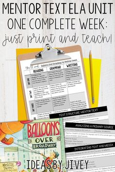 Check out this unit that includes a week of detailed plans that teach text structure, primary sources, analyzing photos, and vivid verbs using the book, Balloons Over Broadway by Melissa Sweet. Teaching Grammar, Teaching Time, Teaching Reading, Mentor Sentences, Mentor Texts, Reading Lessons, Writing Lessons, Vivid Verbs, Poster Text