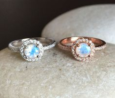 Rainbow Moonstone Halo Ring- Engagement Ring- Promise Ring- Her and His Promise Rings- June Birthstone Ring- Anniversary Ring
