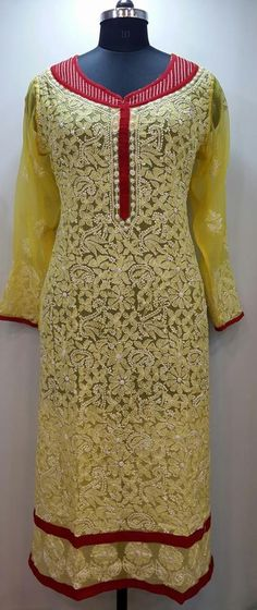 Lucknow Chikan Online Kurti Yellow Faux Georgette $46