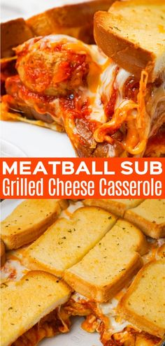 Meatball Sub Grilled Cheese Casserole is an easy casserole recipe made with Italian style meatballs, marinara sauce and loaded with cheese all sandwiched between layers of garlic toast. Meatball Marinara, Meatball Subs, Marinara Sauce, Vegan Recipes Easy, Diet Recipes, Sweets Recipes, Easy Weeknight Meals, Easy Meals, Grilled Cheese Sloppy Joe