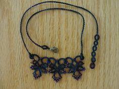 Tatted Necklace in hand dyed thread. $25.00, via Etsy. Tatting Necklace, Beaded Necklace, Necklaces, Doilies, Beading, Clever, Fiber, Craft Ideas, Knitting