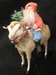 GERMAN SANTA RIDING WOOLLY SHEEP TOY