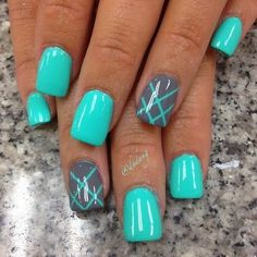 If you like turquoise then you would love these nails!