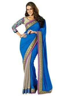 Half and half saree in blue and gre with pita zari embroidered border - Kalkifashion.com