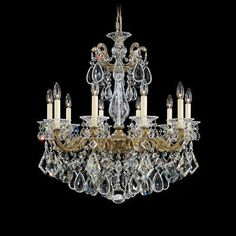 Schonbek La Scala 10 Light Crystal Chandelier Finish / Crystal Color: Etruscan Gold / Swarovski Clear