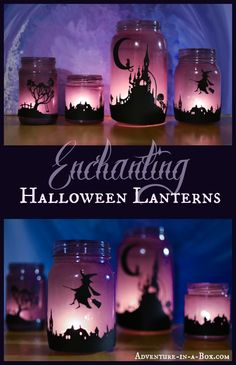 Enchanting Halloween Lanterns: Turn Mason Jars into Lanterns and Explore Light with Children craft diy halloween In the dark autumn evenings turn mason jars into enchanting lanterns to decorate your room for Halloween! Theme Halloween, Halloween 2015, Holidays Halloween, Halloween Treats, Happy Halloween, Spooky Halloween, Diy Halloween Lanterns, Diy Halloween Decorations For Your Room, Halloween Mural