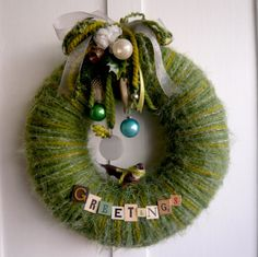 Greetings Yarn Wreath by constantgatherer on Etsy
