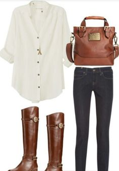 Casual outfit, horse back riding inspired. Denim pants and boots. It's just so easy and looks crisp.