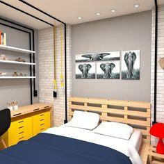 """""""Da série: Projetos Originais por Trenna Arquitetura - Quarto do Menino - Destaque para os mobiliários com palete de madeira, e para a instalação elétrica com eletrodutos externos."""""""