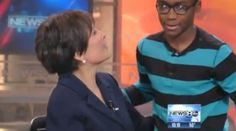 Anchor woman helps boy find family to adopt  him. He returns to thank her on her last week at work.