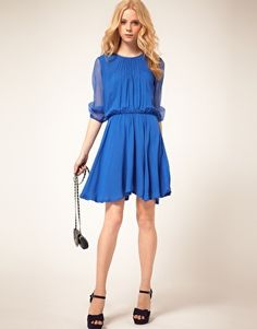 blue chiffon dress.. could easily make the transition from day to night $51