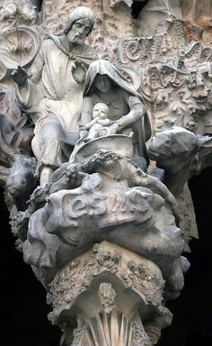 Nativity Facade - Mary, Joseph and Jesus by Paul 'Tuna' Turner , Sagrada Familia Barcelona Catalonia