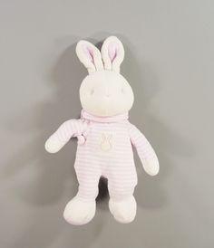 Doudou lapin peluche velours rayé rose et blanc Klorane filles