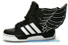 Womens Jeremy Scott JS Wings 2.0 Black white Adidas Shoes 2012