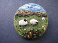 Hand Made Needle Felted Brooch/Gift  Spring in the Meadow   by Tracey Dunn