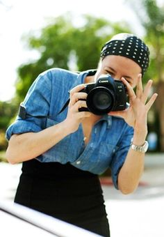 #Garance Dore in headscarf - clever, keeping hair out of the photos!