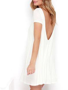White Short Sleeve Backless Dress