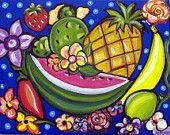 "ORIGINAL PAINTING-Mexican Folk Art - ""Tropical Fruit & Flowers"" - by A.V.Apostle-11""X14"""