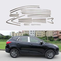 74.64$  Watch here - http://ali4ol.worldwells.pw/go.php?t=32470904828 - Stainless Steel Full Window With Center Pillar Decoration Trim Accessories For Hyundai IX35 2013 2014 2015 OEM-24