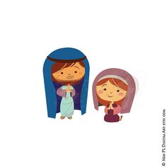 Mary and Joseph Clipart, part of Baby Jesus Christ's Birth in a Manger Nativity Scene. Cute Xmas Graphics 10528, by May PL Digital Art www.maypldigitalart.etsy.com, $6.70 USD for clip art set of 10 pieces, #Mary #Joseph #Clipart #Baby #Jesus #Christ #Birth #Manger #Nativity #Scene #Cute #Xmas #Graphics