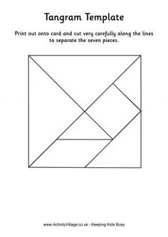 "Tangrams - Here's some puzzling fun for the kids from ancient China! Tangrams, ""seven pieces of cleverness"", are an ancient Chinese puzzle which is still mind-bending and intriguing today! How to play: Print out one of our Tangram templates - either in colour or black and white - onto cardstock. Cut out very carefully along the lines. Now use the seven pieces to make ""pictures"" - either inventing your own or using our printable Tangram puzzle pages as a challenge."