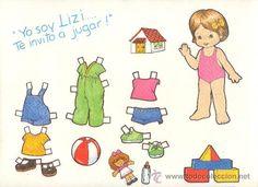 LAMINA RECORTABLE DE MUÑECA LIZI VESTIDOS MODA NIÑA JUGUETE INFANTIL - Foto 1