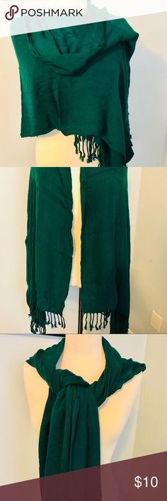 Hunter green scarf/shall Hunter green rayon shall. Very long as seen in photos. Can be worn multiple ways. Very elegant and silky smooth. no brand Accessories Scarves & Wraps