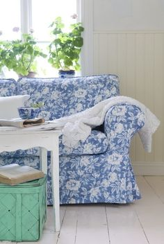 Bemz also makes slipcovers for IKEA furniture, in a huge array of fabrics. IKEA: No Hacking Required Decor, Blue White Decor, Sofa Covers, Blue And White, Floral Sofa, Furniture, Ektorp Sofa, Blue Decor, Shabby Chic Furniture