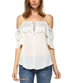 Another great find on #zulily! White Crochet Accent Cold-Shoulder Top #zulilyfinds