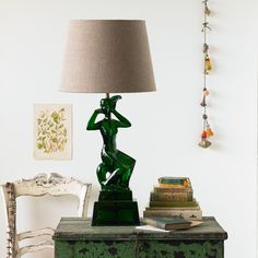 Pooky Isolde Larger Lamp in Green/35cm Flax Linen Shade | Prezola - The Wedding Gift List
