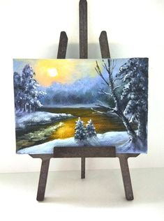 ACEO winter painting aceo original painting on canvas oil painting miniature painting landscape sunset Christmas painting ATC art card by PicNatArt on Etsy https://www.etsy.com/listing/579128295/aceo-winter-painting-aceo-original