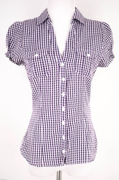 H Fitted Plaid Top Size 6 by H   ClosetDash