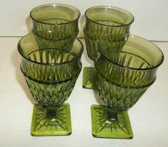 Mt. Vernon Green Glass Pedestal Goblets Square Footed Set of 4 Vintage