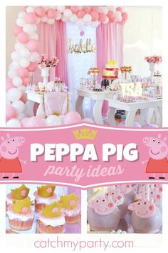 Check out this pretty princess Peppa Pig birthday party! The Peppa Pig cake pops… 2nd Birthday Parties, Birthday Party Decorations, Birthday Ideas, Peppa Pig Princesa, Peppa Pig Balloons, Pig Baby Shower, Peppa Pig Birthday Cake, Princess Birthday, Princess Peppa Pig Party