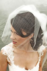 I like this idea too! Blusher Veil , all-tulle, gathered at the back (?)