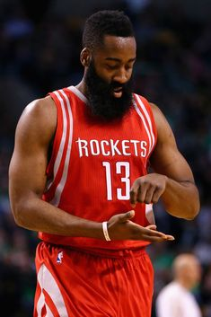 James Harden - James Harden Photos - Houston Rockets v Boston Celtics - Zimbio James Harden Gif, James Harden Rockets, Sports Basketball, Basketball Players, Celtics Basketball, Houston Rockets Players, Nba Players, Nba Fashion, Nba Stars