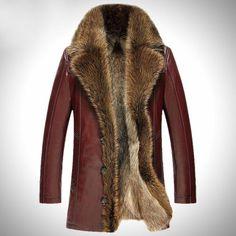 Veste cuir laine et fourrure