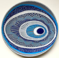 Decorative Plate White Evil Eye Decor Plate by biancafreitas & Blue Evil Eye Decor - Decorative Plate - Golden Black and Blue ...