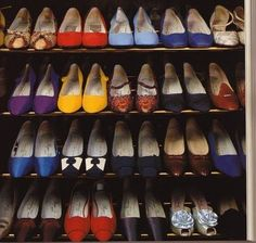 Shoes lined up in the Duchess of Windsor's closet at her home in the Bois de Boulogne, Paris.
