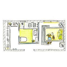El baño, situado en el centro de la planta, distribuye los ambientes
