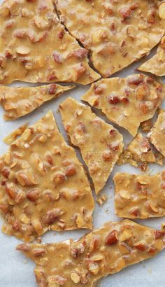 My mum and I made this SUPER easy recipe for brittle (courtesy of Cooking Light magazine) last weekend. The crunchy sweetness of this almond version beats the peanut var. Brittle Recipes, Nut Recipes, Candy Recipes, Sweet Recipes, Dessert Recipes, Cooking Recipes, Cooking Hacks, Cooking Videos, Desert Recipes