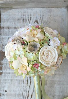 Vintage Garden Bridal Collection - Customizable Handmade Alternative Wedding Bride's Bouquet , Sola Wood, Silk, Vintage Paper, Dried Flowers. $85.00, via Etsy.