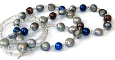 Simply Stunning Silver, Blue and Brown Freshwater Pearl Eyeglass Necklace or ID Badge Holder by nonie615, $43.00 Shipping included.