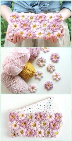 Crochet Flower Power Clutch crochet clutch bag