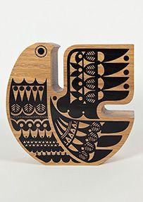 Sielulintu - Soul Bird, varnished Oak  screen printed, by Sanna Annukka,   Brighton, England