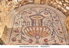 Floor with ancient mosaics in Sbeitla, Tunisia - stock photo