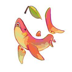 Fruit sketch vegetables 57 ideas for 2019 Cute Animal Drawings, Kawaii Drawings, Cool Drawings, Drawing Animals, Pretty Art, Cute Art, Character Art, Character Design, Shark Art