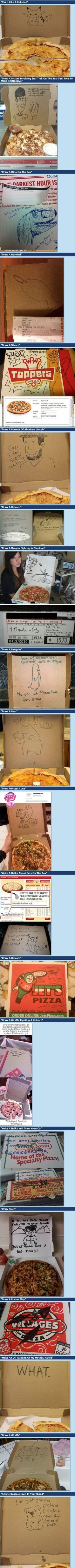 "Super funny pizza delivery ""special instructions"" requests! Can't stop laughing!"